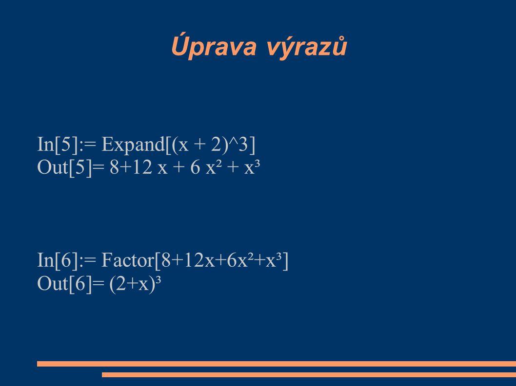 Úprava výrazů In[5]:= Expand[(x + 2)^3] Out[5]= 8+12 x + 6 x² + x³